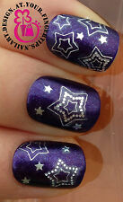 NAIL ART HOT WRAP WATER TRANSFERS DECALS STICKERS DECORATION SILVER STARS #46