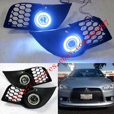 2x LED DRL Fog Light Projector+angel eye For Mitsubishi Lancer Sportback 2008-15