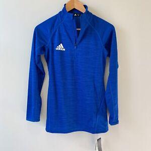 NWT Women's XS Adidas GameMode 1/4 Zip Long-Sleeve Top-Collegiate Royal Blue