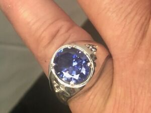 Men's Ring Silver 925 or Gold Plated Synthetic Stone  size 6 up to 14