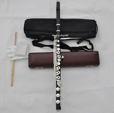 C# Trill Professional Ebony wooden Flute B foot silver keys with wood case
