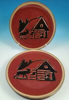 """Set of 4 Clay Art Rustic Red / Black """"RUSTIC LODGE"""" 10-3/8"""" Dinner Plates"""