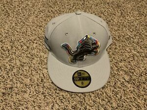 Detroit Lions New Era NFL Crucial Catch 59Fifty Fitted Hat On Field Grey Size: 8