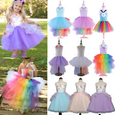 Boutique Flower Kid Girl Rainbow Unicorn Pageant Party Formal Chiffon Tutu Dress