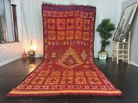Moroccan Handmade Vintage Mzouda Rug 5'8x12'5 Berber Geometric Red Wool Rug