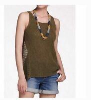 Anthropologie Sparrow L Tank Top Moss Green Shirt Openwork Sweater Tank NEW