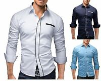 New Mens Casual Formal Shirts Slim Fit Shirt Top Long Sleeve M L XL XXL PS19