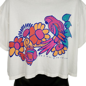 Ocean Pacific OP Crop Top T Shirt Vintage 80s 90s Tropical Parrot Made In USA XL