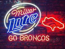 """New Miller Lite Denver Broncos Go Broncos Beer Bar Pub Neon Light Sign 24""""x20"""""""
