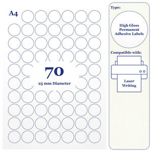 Round High Gloss White Paper Labels 25mm Diameter 20 A4 Sheets for Laser Printer