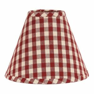 """New Primitive Country Farmhouse Check BARN RED CHECKED LAMP SHADE Clip On 10"""""""
