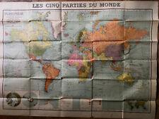 LES CINQ PARTIES DU MONDE - PANISPHÈRE TARIDE - COLONIES - 97,5 x 129 cm. - 1938