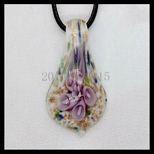 Fashion Women's drip lampwork Murano art glass beaded pendant necklace #A143