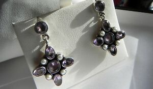 Scrumptious! 8g sterling silver 925 amethyst & seed pearl drop dangle earrings