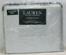 Ralph Lauren Dunham Sateen Queen Sheet Set Silver New