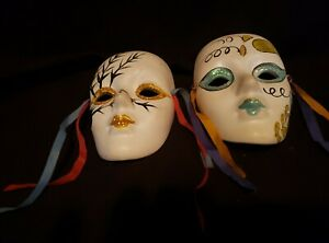Two Painted Porcelain Wall Mask
