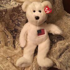 New listing Ty Big Beanie Buddie White bear with an American flag Usa 12�