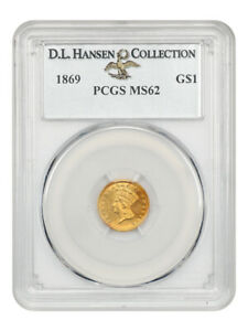 1869 G$1 PCGS MS62 ex: D.L. Hansen - Low Mintage Issue - 1 Gold Coin