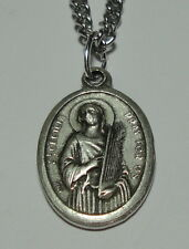 "St Cecilia Cecily Holy Medal on 24"" Chain Patron of Musicians Poets Church Music"