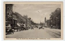 MAIN ST. SOUTH FROM WASHINGTON ST., MIDDLETOWN: Connecticut USA postcard (C9496)