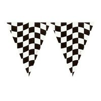 RACE CAR CHECKERED FLAG PENNANT BANNER RACING PARTY BLACK & WHITE DECORATION