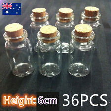 36pcs 6cm Craft Small Mini Tiny Clear Glass Bottles Jar Cork lid Vials Wholesale