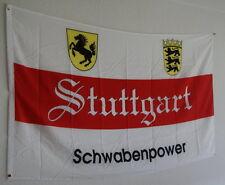FAHNE FLAGGE 0633 STUTTGART SCHWABENPOWER VfB 90 x 150cm MEINE STADT (1) NEU