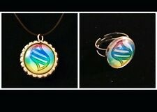 Pokémon Go Mega Evolution Stone Silver Glass Dome Pendant Necklace And Ring Set
