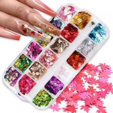 Fall Maple Nail Glitter Flakes Autumn Sequins Leaf Mirror Paillette Tips Decor