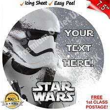 "Star Wars Stormtrooper Cake Topper Personalised EASYPEEL 7.5"" Edible ICING Round"