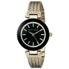 Anne Klein 1906BKGB Lady's Black Dial Mesh Bracelet Crystal Watch