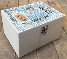 White Wooden memory box storage keepsake newborn baby boy personalised gift