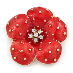 Gold Tone Red Painted Rhienstones Poppy Flower Symbolic Brooch Pin BR298
