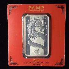 Pamp 100g .999 Silver Bar Dragon Lunar Calendar Series 2012