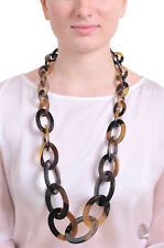 LONG BUFFALO HORN CHAIN LINK NECKLACE STATEMENT NECKLACE HANDMADE JEWELRY