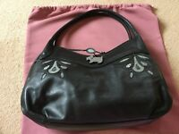 Radley - Black Leather Tote Bag with Green/Grey Decoration - Large