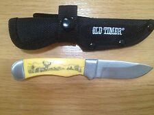 SCHRADE OLD TIMER SCRIMSHAW DEER BUCK SKINNER HUNTER FIXED BLADE KNIFE NEW
