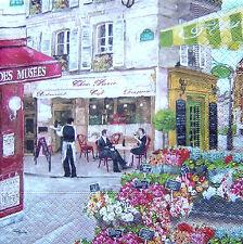 4 Servietten * RUES DE PARIS * Cafe Bistro Straßenkaffee Blumenladen Napkins