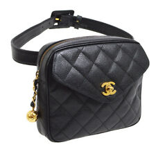 86aec29bc9de Auth CHANEL Quilted CC Waist Bum Bag Black Caviar Skin Leather Vintage  O02254