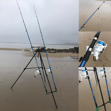 DELUXE SEA FISHING SET UP - 2 X 12FT BEACHCASTER RODS + REELS + BEACH PRO TRIPOD