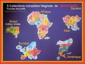 5 Collections Magnet Aimant BROSSARD SAVANE Afrique Brésil Asie Europe Amérique