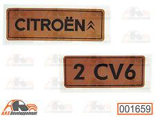 MONOGRAMME autocollant doré (STICKER) pour coffre / malle de Citroen 2CV6 -1659-