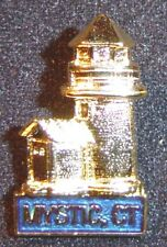 Mystic CT lighthouse pin,Mystic Seaport, gold plate