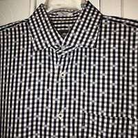 PETER MILLAR Mens Sz Large 16.5 Navy Blue Check Long Sleeve Button Down Shirt
