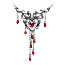 Alchemy Gothic Bleeding Heart Pendant Necklace Pewter Jewelry Skull Crystal P550