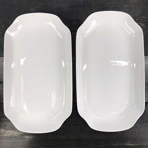 "Porcelain serving platter plates set Of 2 White Long plates 13""x7 1/2"""