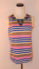 J.Crew Stripe Sleeveless Necklace Shell Ivory Blue Pink Brown #01839 Small $168