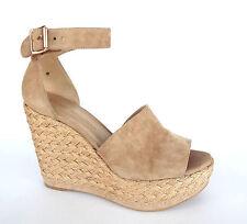 New STUART WEITZMAN Size 6 SOHOJUTE Beige Suede Espadrille Wedge Sandals Shoes