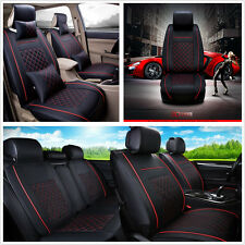 Universal Car Auto Seat Cover Cushion 5-Seats Front + Rear PU Leather w/Pillows