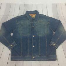 Sean John Mens Jean Jacket XL Medium Wash Denim Trucker Hipster 90's Style Trend